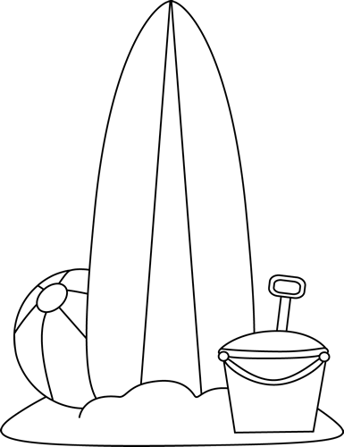 Surfboard clipart beach drawing. Black and white toys