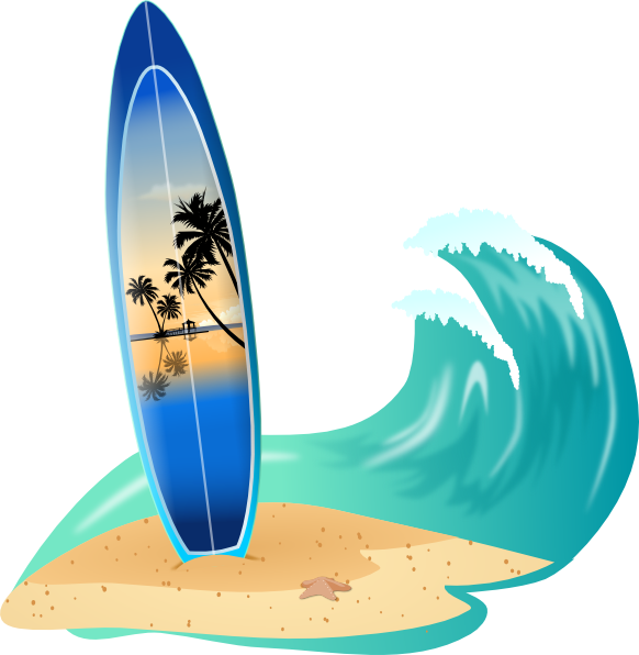 Vector sharks surfing. Surfboard and wave clip