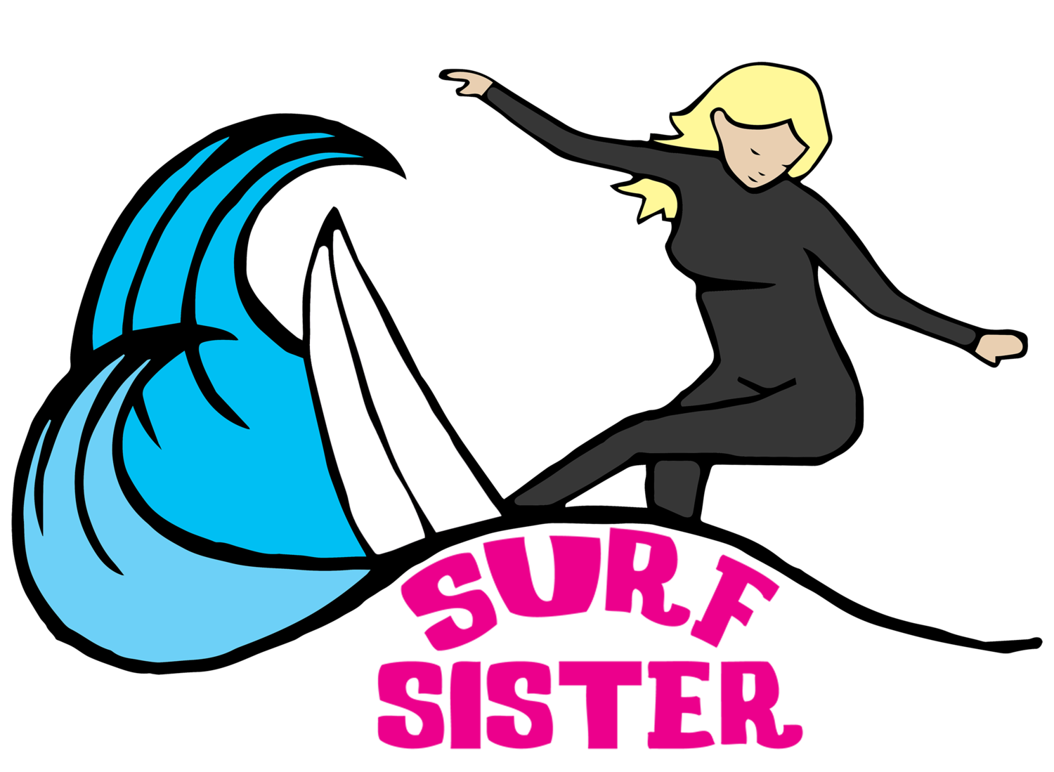 Surfing clipart surfer cartoon. Camps page surf sister