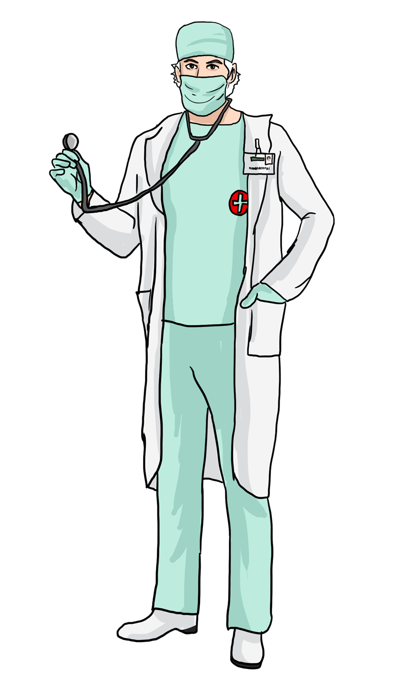 Surgeon drawing woman doctor. Free cliparts download clip