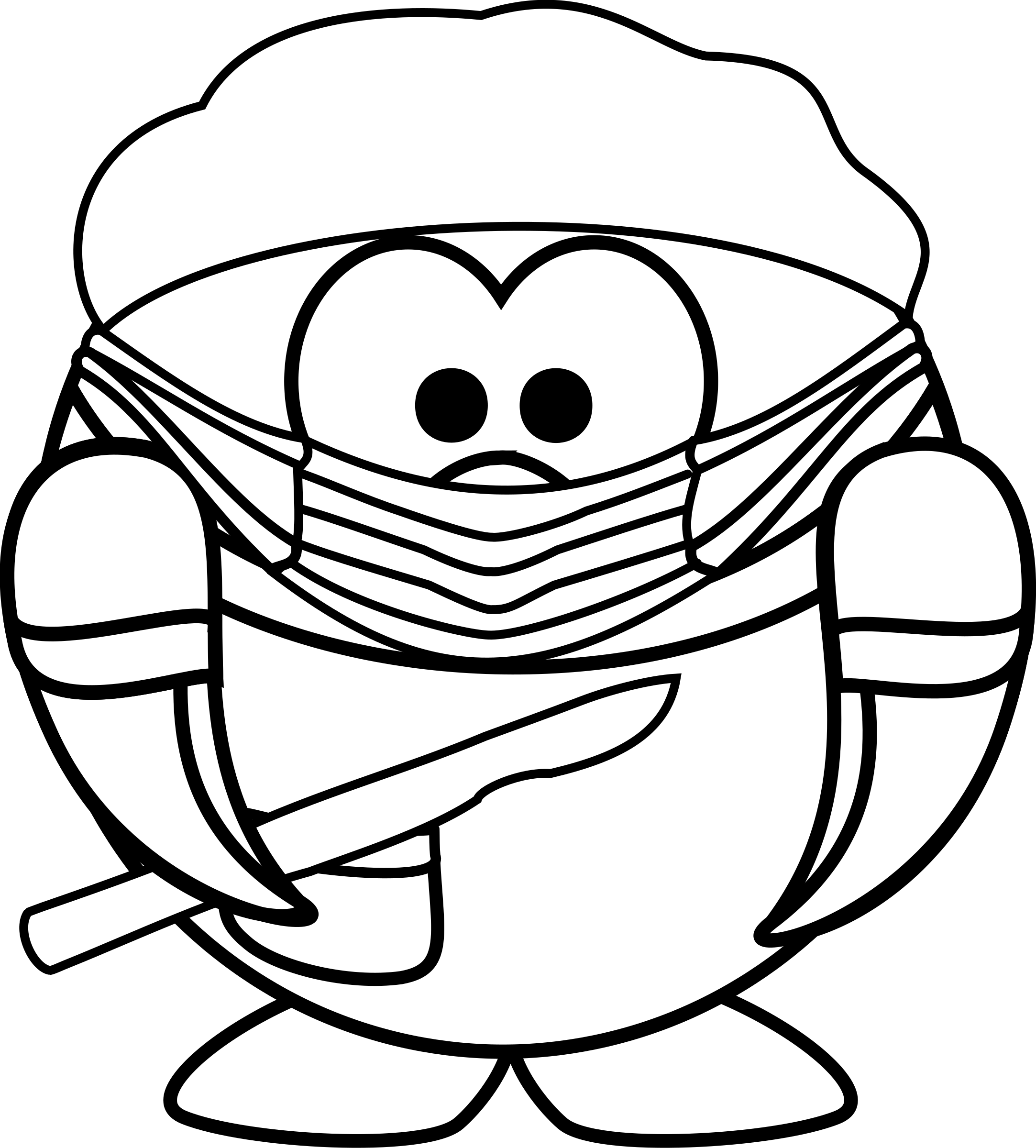 Surgeon drawing black and white. Clipart coloring page of