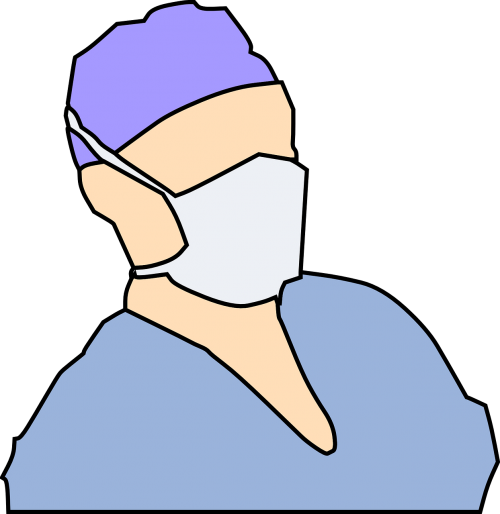Surgeon drawing mask. Operation doctor surgery hospital