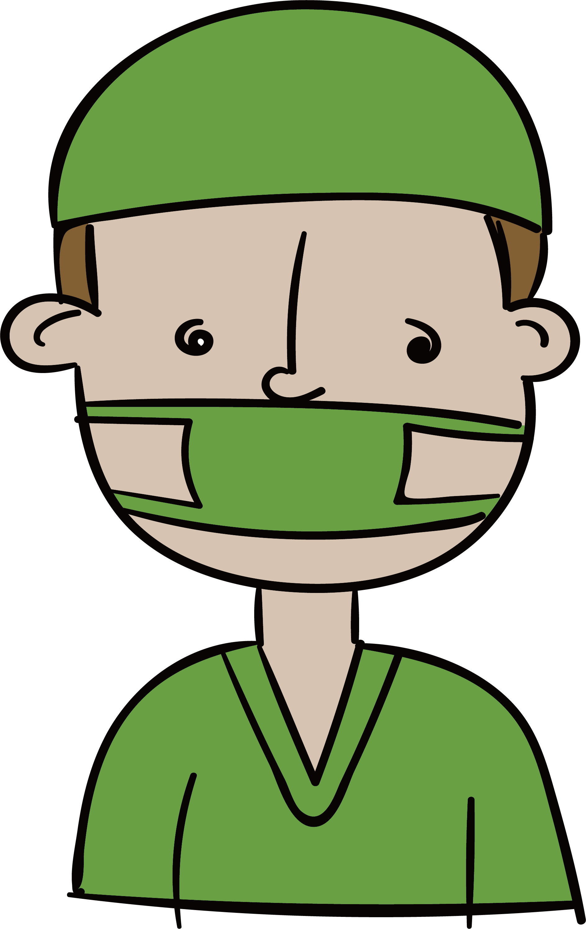 Surgeon drawing mask. Clip art a doctor