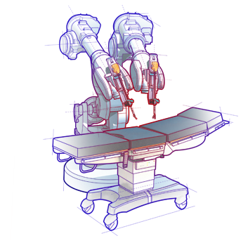 Surgery drawing surgeon. Motors for surgical robots