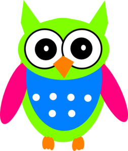 Surprised clipart owl. Green pink turquoise clip