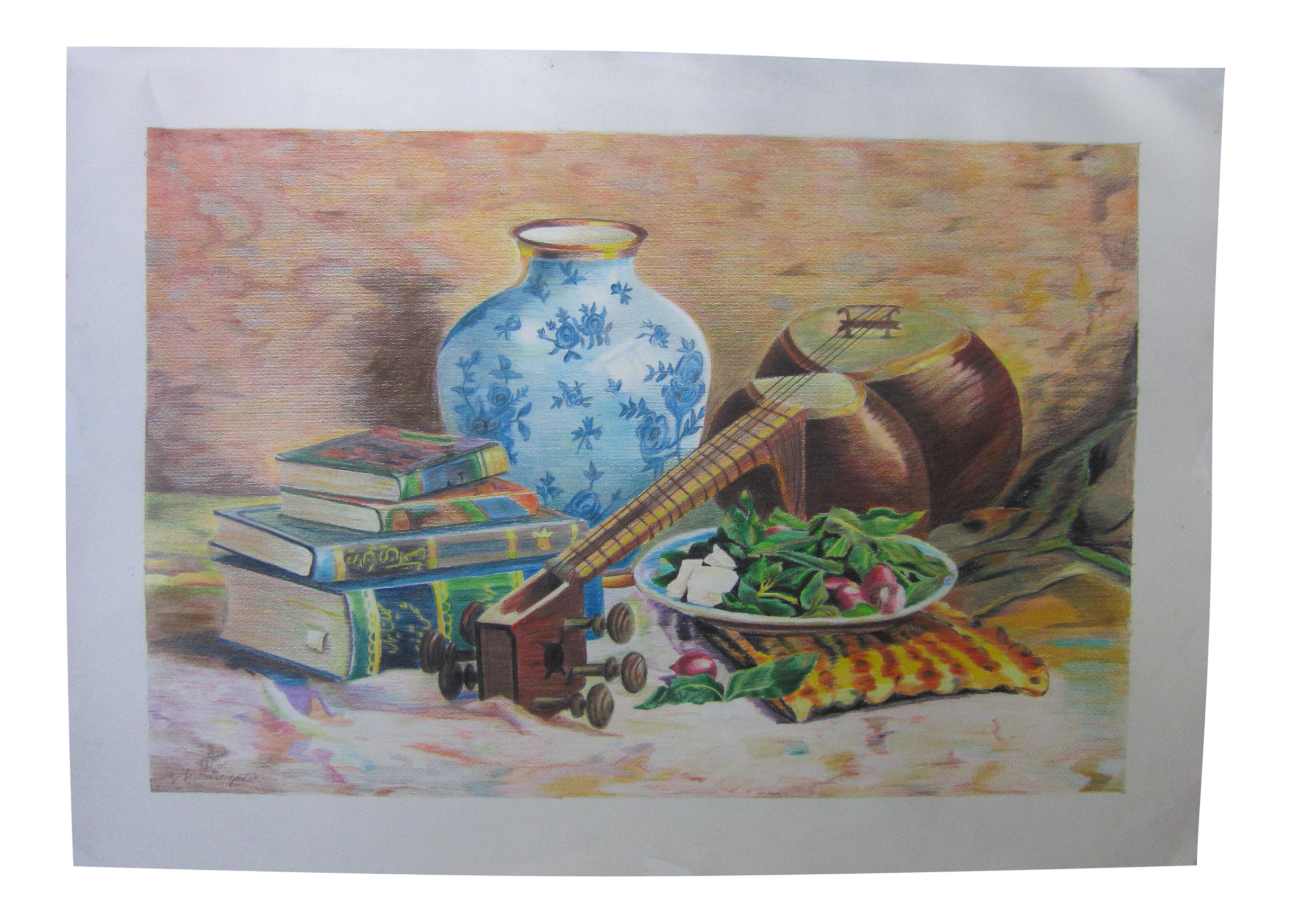 Surrealist drawing colored pencil. Eastern culture realism painting