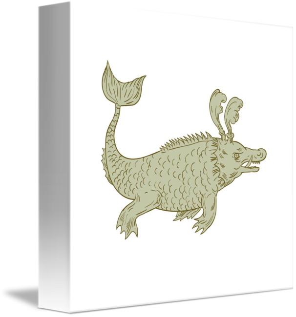 Surrealist drawing creature. Ancient sea monster by