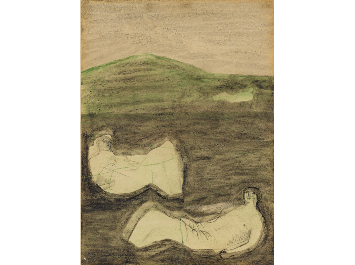 Surrealist drawing modern. Henry moore surrealism reclining
