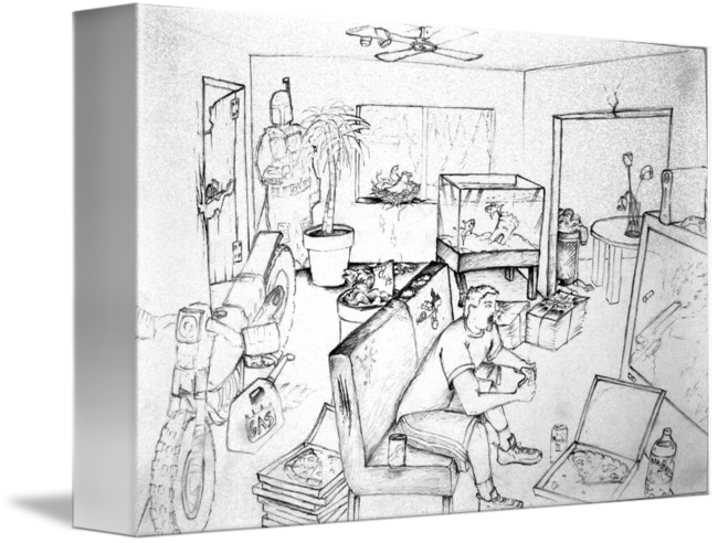 Surrealist drawing space. Messy room self portrait
