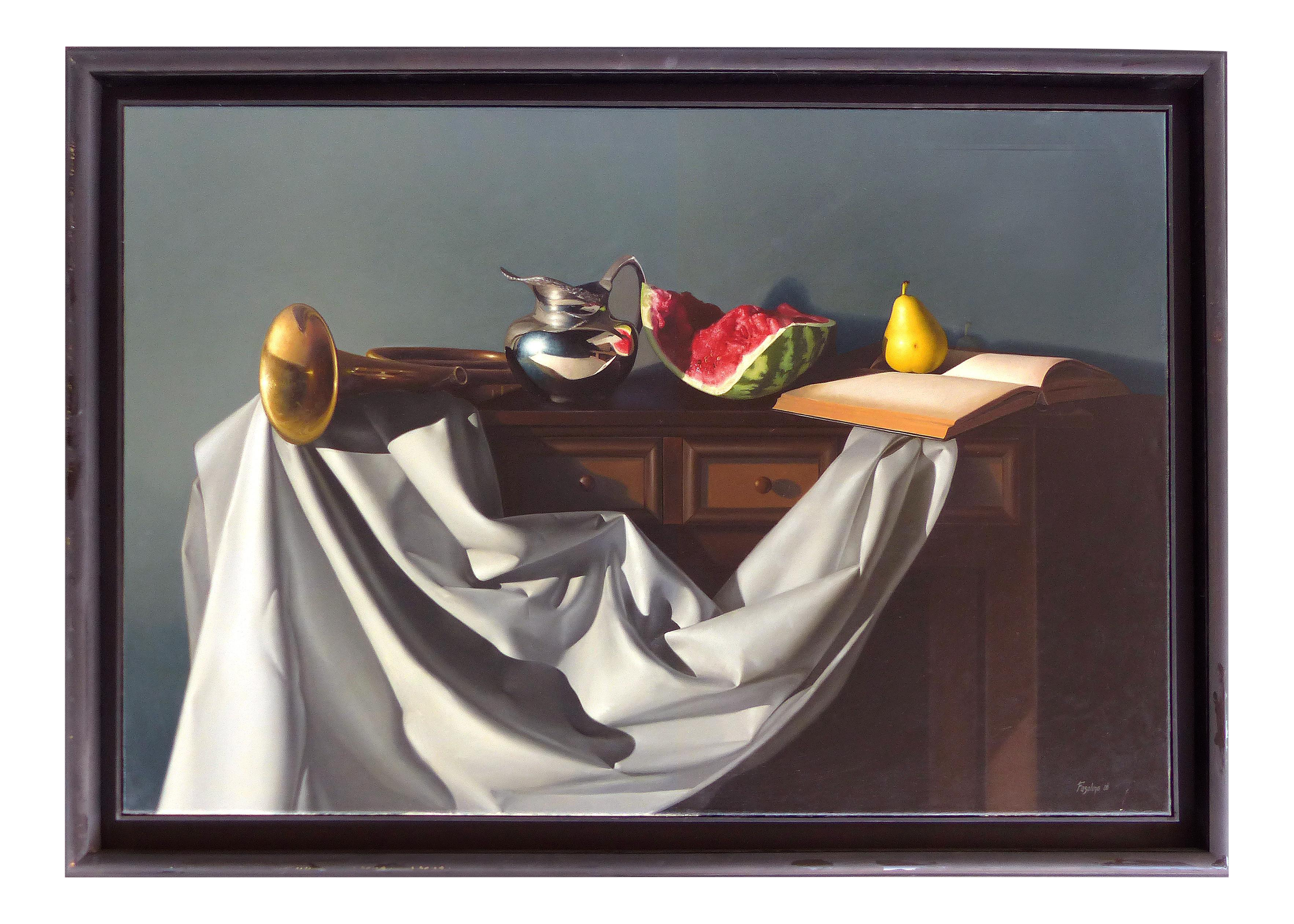 Surrealist drawing still life. Hyper realistic oil on