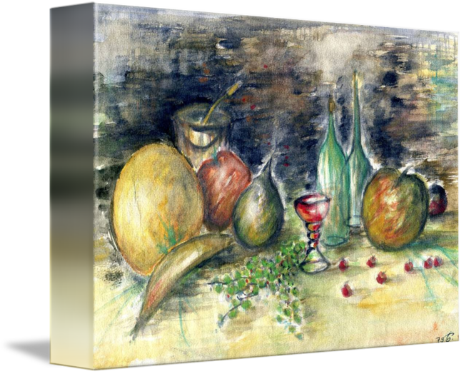 Surrealist drawing still life. With fruits watercolor painting