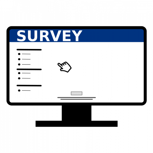 Online computer icon panda. Survey clipart banner black and white
