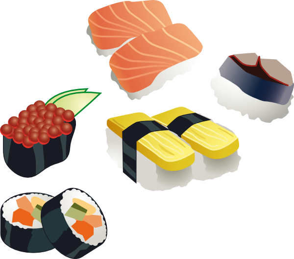 Sushi cartoon png. Free vector set clip