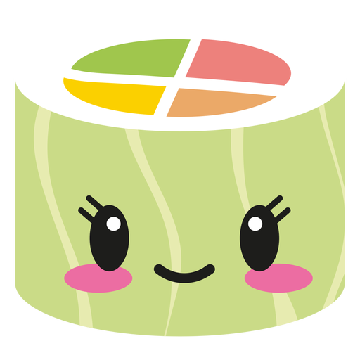 Cute sushi png. Happy kawaii face roll
