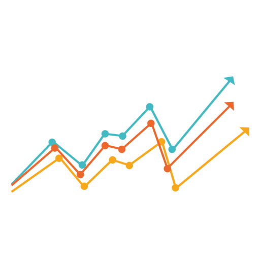 Svg charts vector. Increasing multicolor line chart