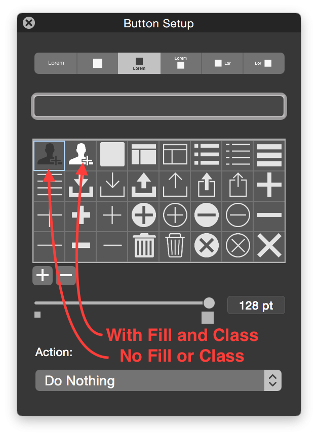 Svg class setup. Filemaker custom button icons