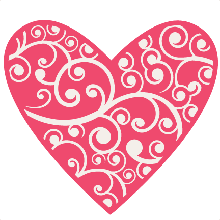 Flourishes svg heart. Flourish scrapbook cut file