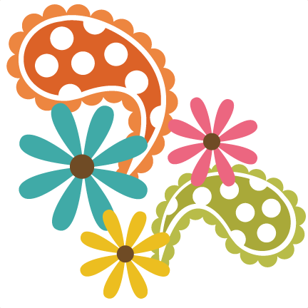 Svg design paisley. With flowers file free