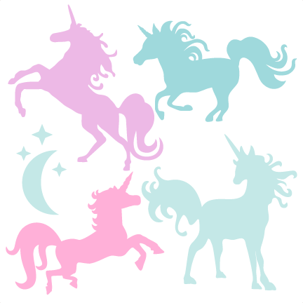 Svg design silhouette. Unicorn set scrapbook title