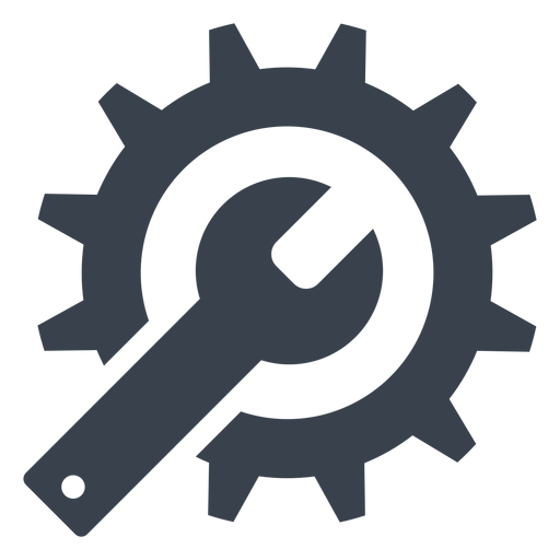 Transparent gear stencil. Wrench and icon png