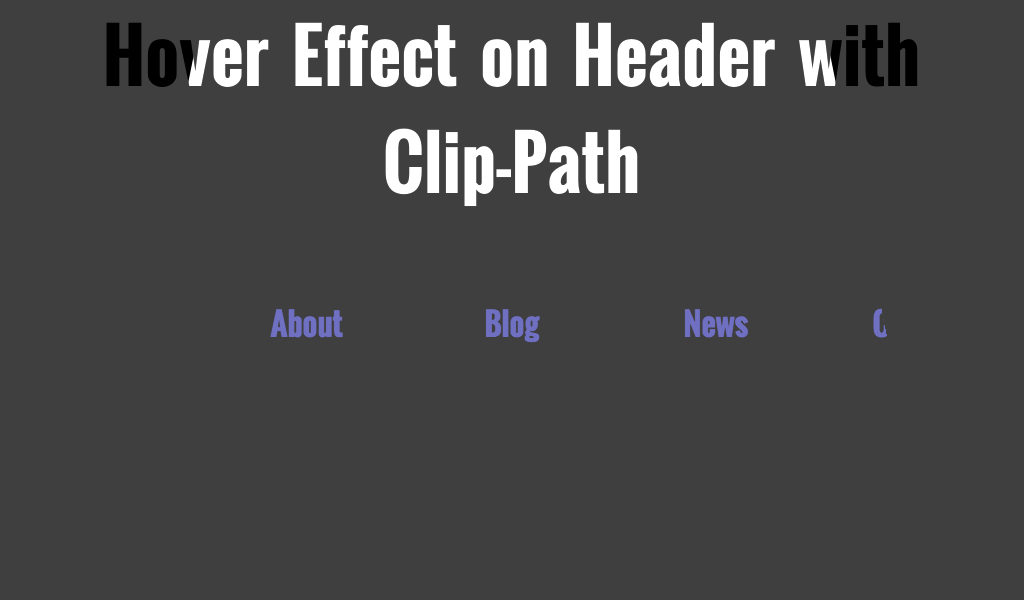 Svg hover clip path. Effect on header with