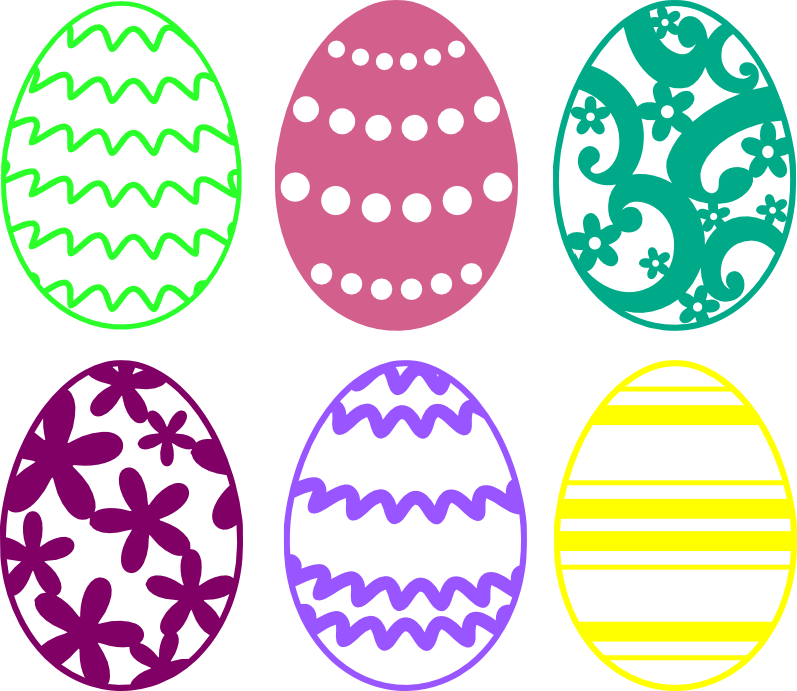 Svg silhouette easter. Egg cutting files free