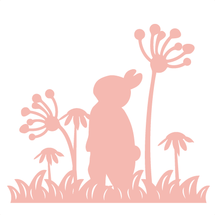 Bunny scrapbook cut file. Svg silhouette easter vector