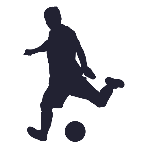 Soccer ball png kicking. Player shooting silhouette transparent
