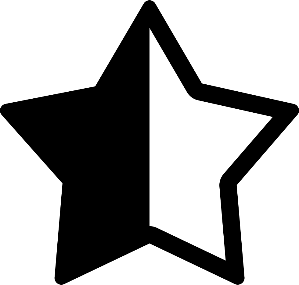 Svg star rustic. Half png icon free