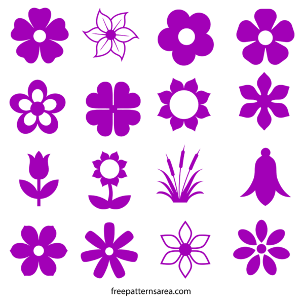Flower silhouette vector and. Svg templates jpg free
