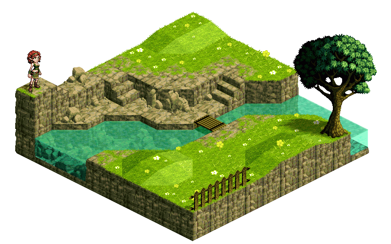 Swamp vector isometric. Another landscape no by
