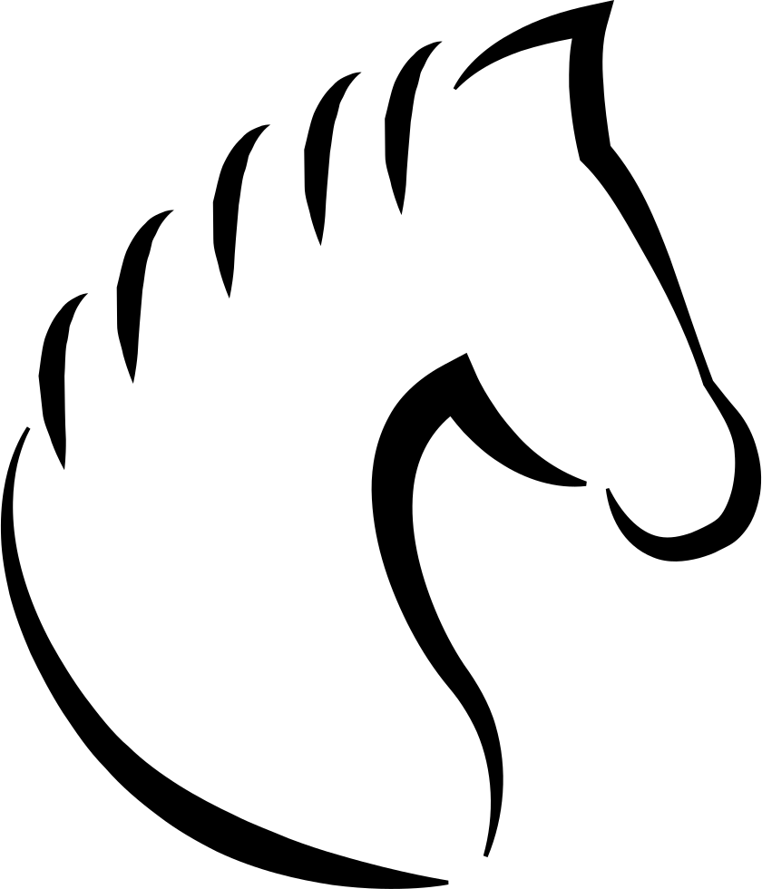 Swashes vector dog tail. Head horse outline with
