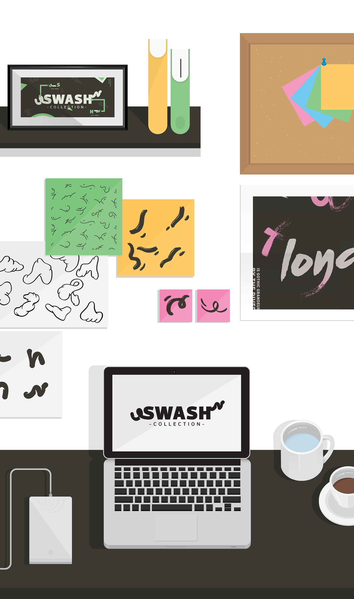 Swashes vector illustrator. The swash collection on
