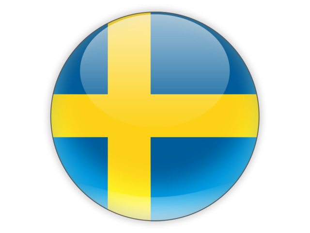 Sweden flag png. Round icon illustration of