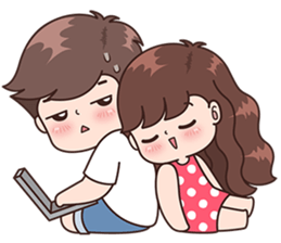 Sweet drawing couple. Cuties cute couples