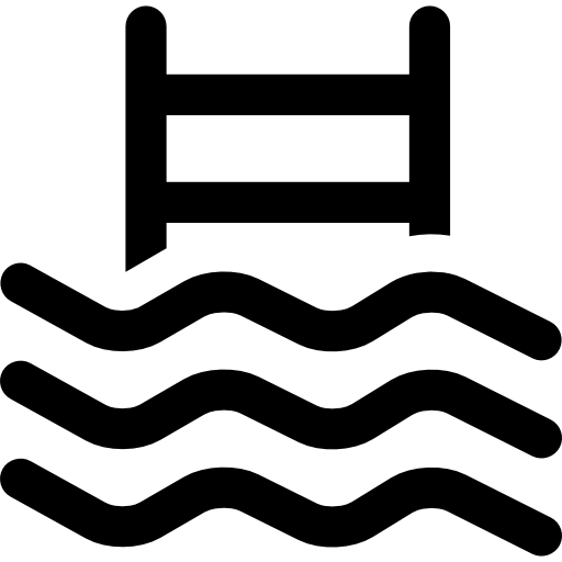 Swimming pool icon png. Water waves with ladder