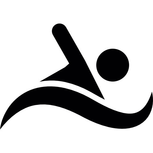Wave clip swimming. Silhouette free sports icons