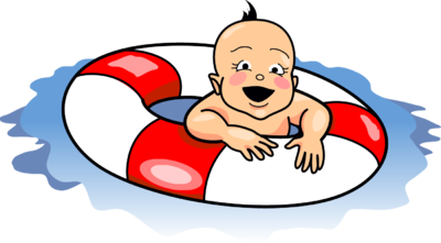 Swimming transparent baby. Image clip art christart