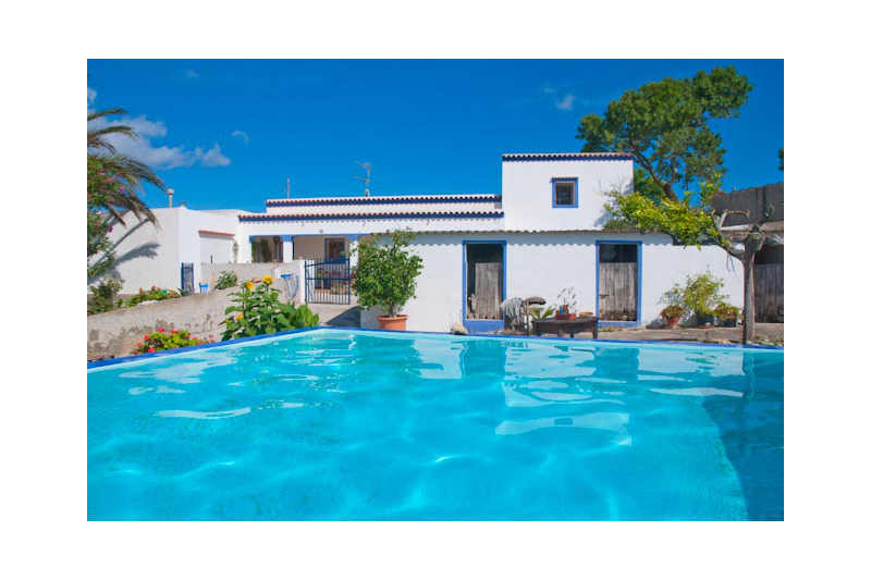 Swimming transparent house. Ibiza authentic finca country