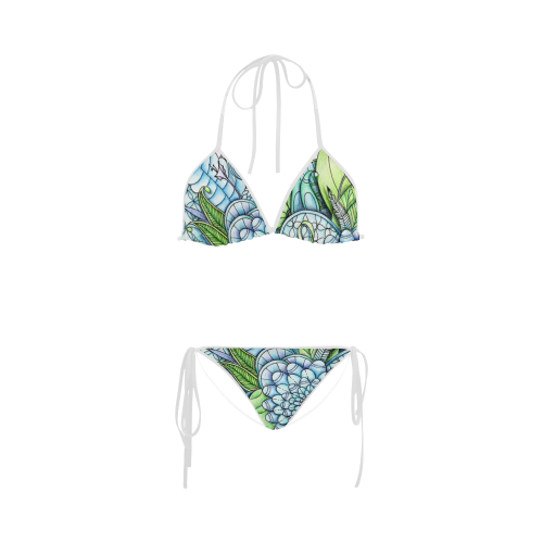 Swimsuit drawing. Blue green flower peaceful