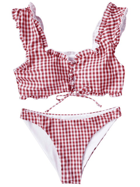 Swimsuit drawing bralette. Gingham lace up bikini