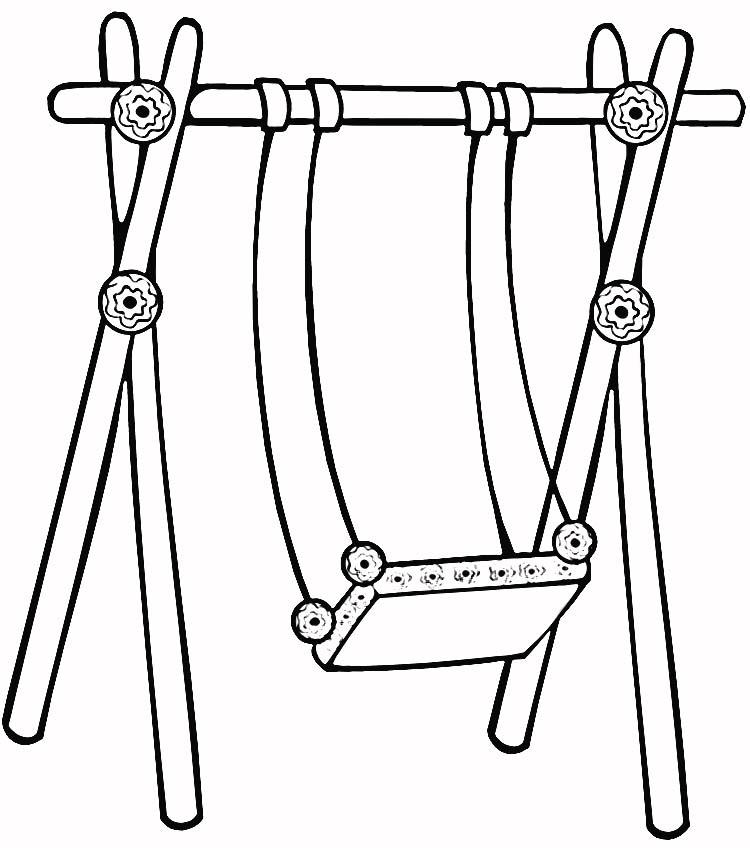 Swing clipart coloring page. For kids online panda