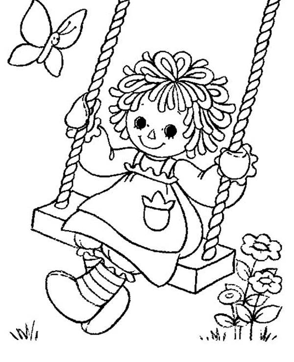 Swing clipart coloring page. Direct raggedy ann pages