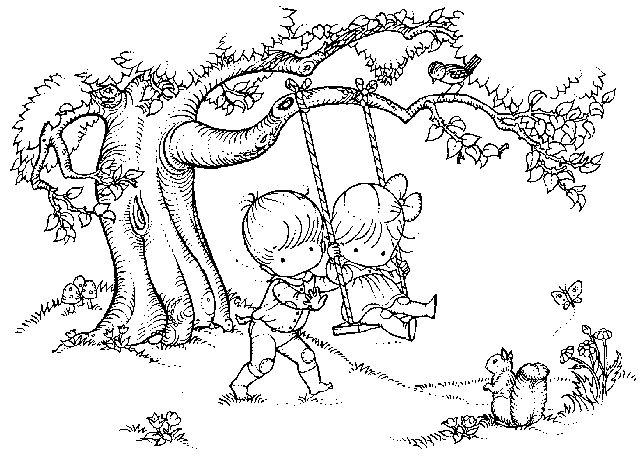 Swing clipart coloring page. Best printables images