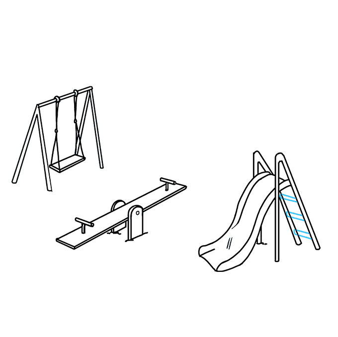 Swingset drawing. How to draw a