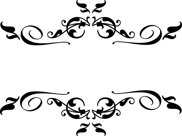Corner filigree clip art png. Black heart and bows