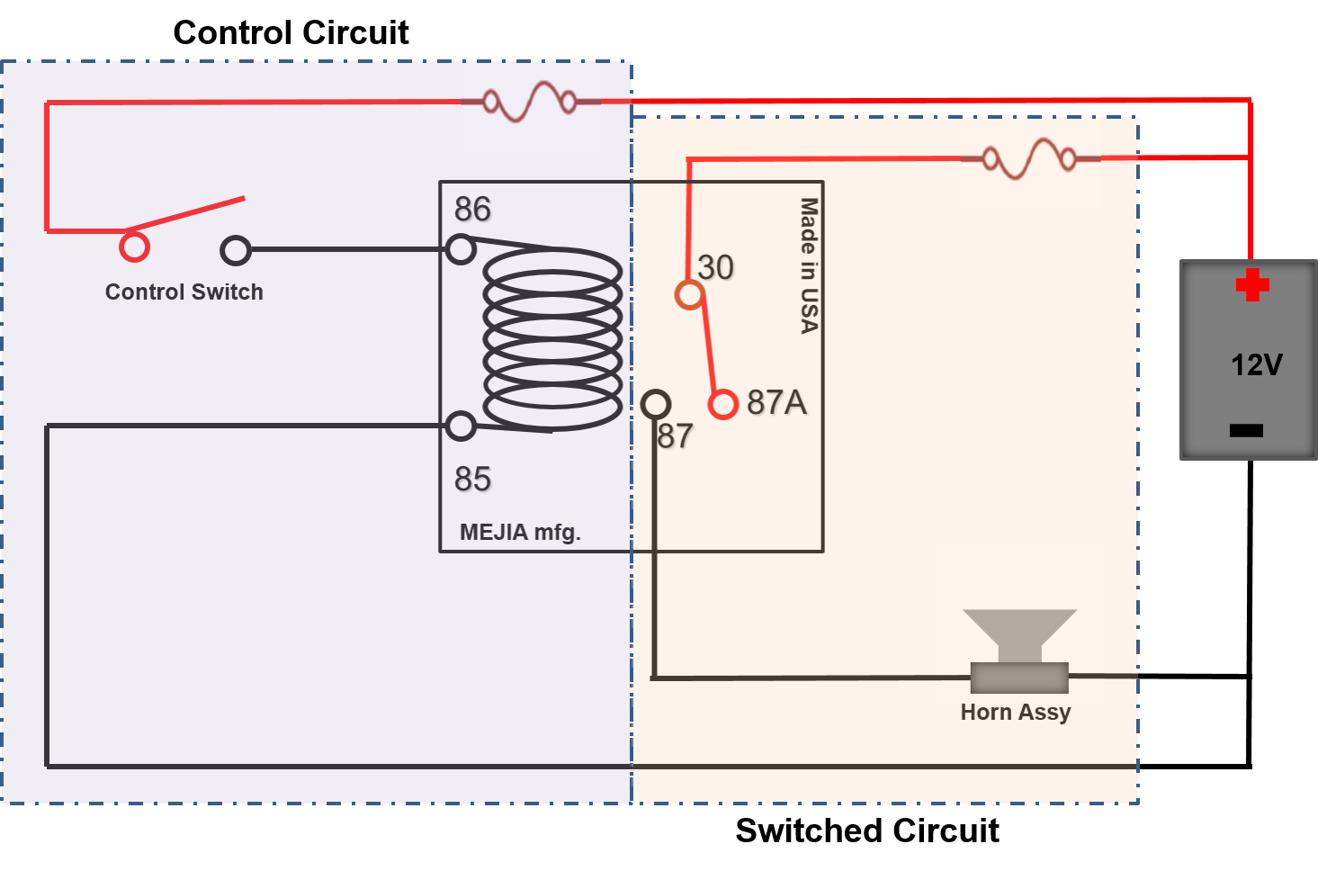 Switch drawing circuit. Relay function and operations