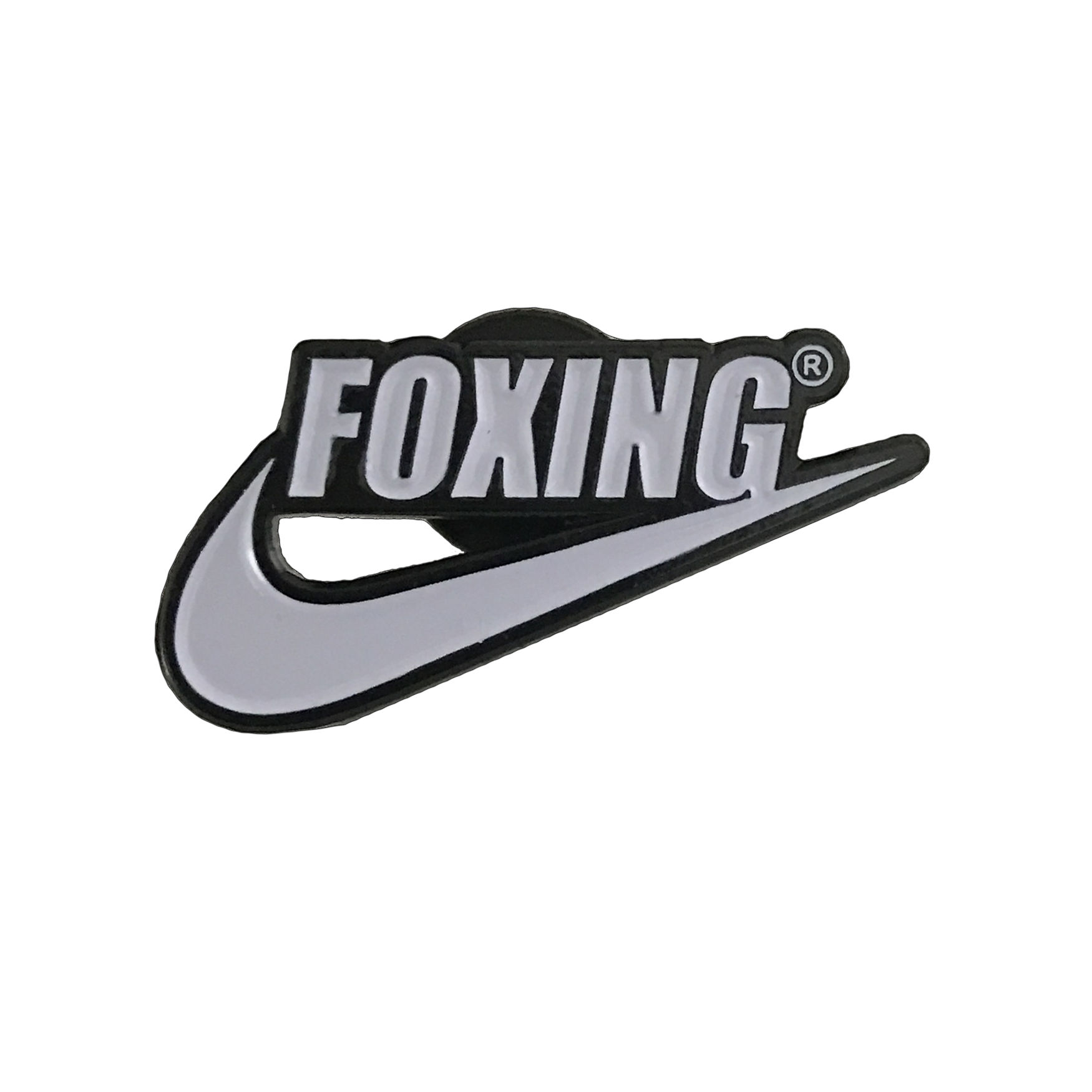 Lapel clip pin. Foxing swoosh