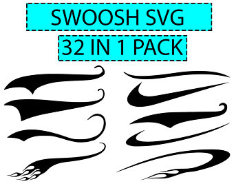 Swoosh clipart thick line. Etsy svg text tails