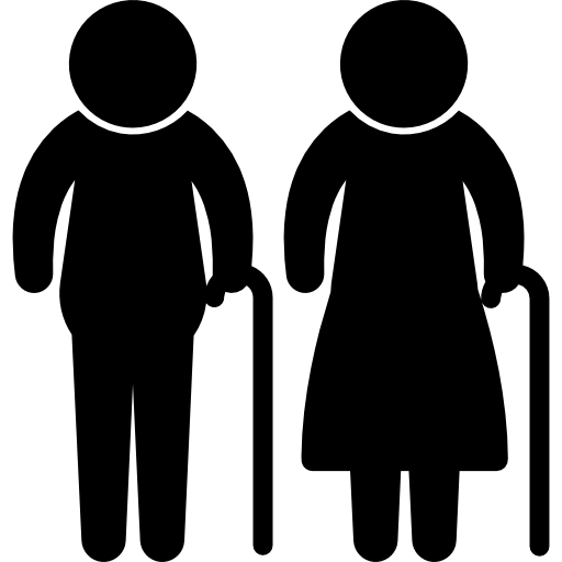 Elderly couple silhouettes with. Vector nail old picture freeuse stock